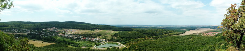 Panoramic view from the Zsigmond-kő Rock to Várgesztes village