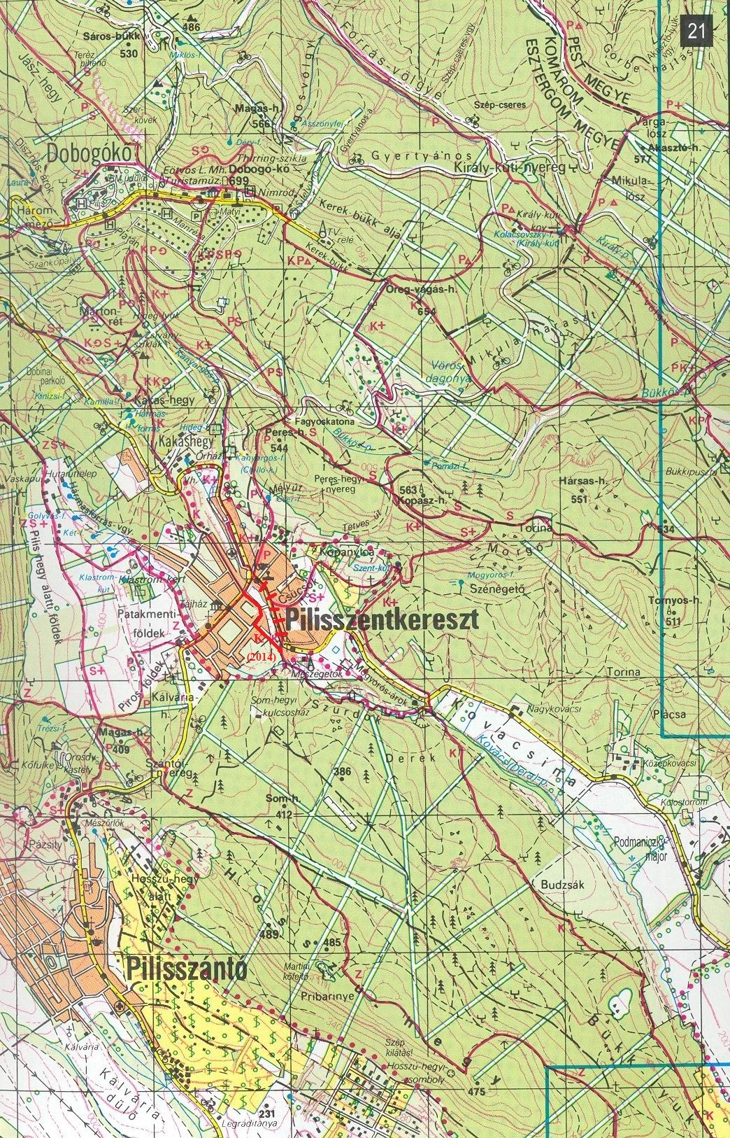 Map detail about the environs of Dobogókő